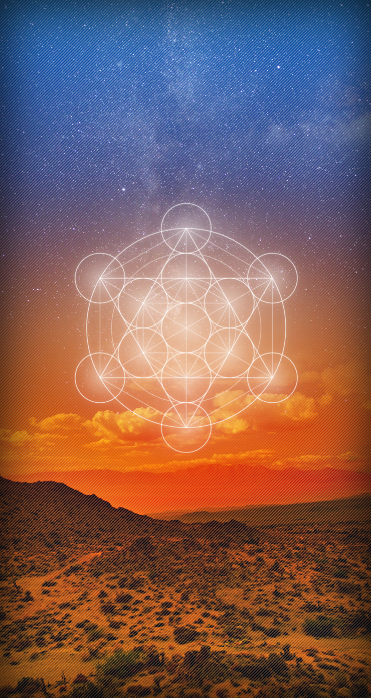 Metatrons-Cube-Sunset-Desert-iOS-7-Wallpaper